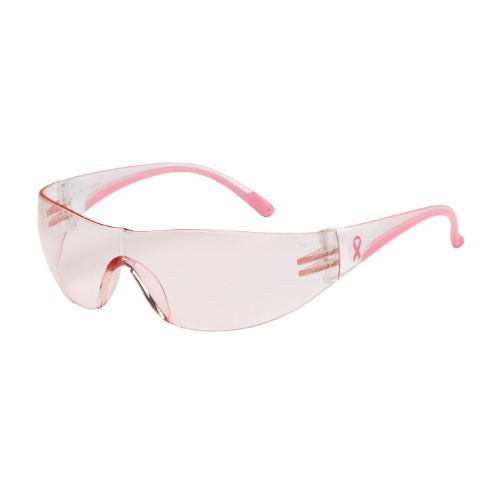 Eva 250-10-0904 Rimless Safety Glasses with Clear/Pink Temple, Pink Lens and Anti-Scratch - Eva Glasses