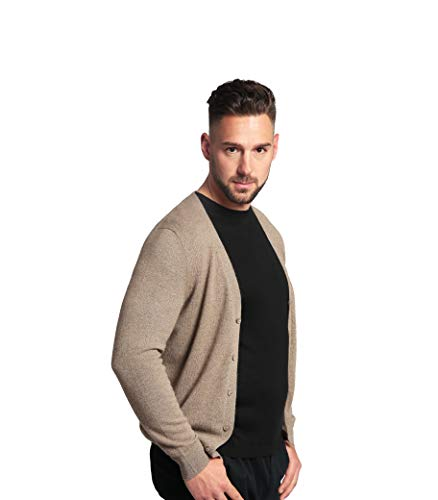 Goyo Cashmere Men's 100% Pure Cashmere Cardigan - Button Down V-Neck Cardigan (Camel, XL) ()