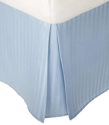 1-PC Tailored Fit Soft and Smooth Easy Fit Queen Bed Skirts 21 Inches Drop Length/Fall Bed Skirt 100% Egyptian Cotton 600 Thread Count Light Blue Striped-(Qty-1PC)