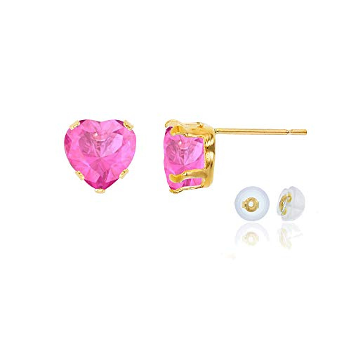 - Genuine 14K Solid Yellow Gold 5x5mm Heart Created Pink Sapphire Birthstone Stud Earrings