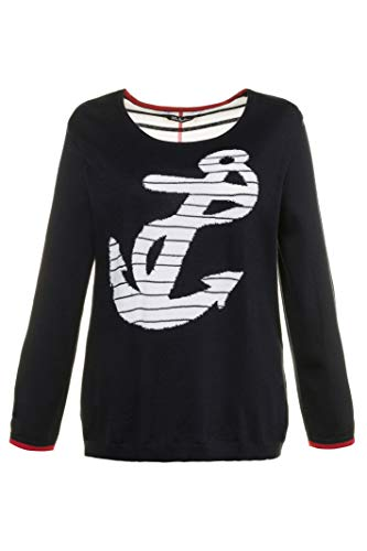 Ulla Popken Women's Plus Size Striped Anchor Design Sweater Marine 24/26 714908 70