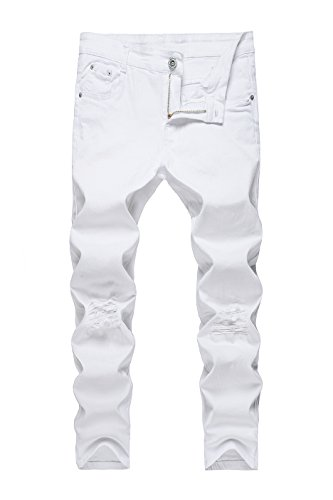 CLOTPUS Men's Slim Fit Ripped Stretch Jeans Destroyed Skinny Pants with Holes White W30 by CLOTPUS