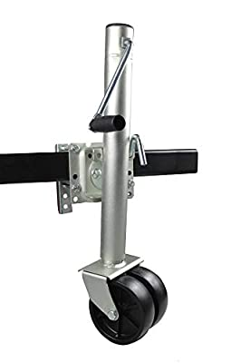 "MaxxHaul 70149 26-1/2"" to 38"" Lift Swing Back Trailer Jack with Dual Wheels - 1500 lbs. Capacity"