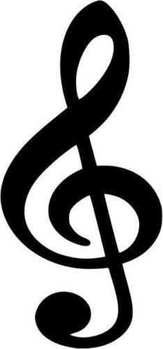 Treble Clef Music Note Symbol Vinyl Graphic Car Truck Window Decor Decal Sticker - Die cut vinyl decal for windows, cars, trucks, tool boxes, laptops, MacBook - virtually any hard, smooth surface