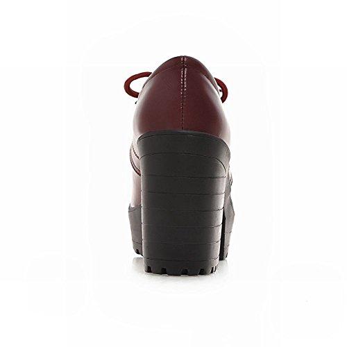Carolbar Womens Lace Up Mode Rétro Vintage Plate-forme Chunky Haut Talon Cheville Bottes Vin Rouge
