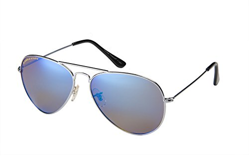 Eagle Eyes Mirrored Polarized Sunglasses  - Celebrity Classic Aviator Sunglasses, Silver Frame, Blue Lenses, Large 58 - Blue Frame Silver Sunglasses Lens