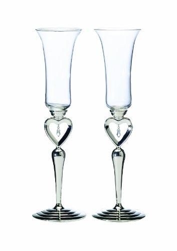 Lillian Rose Toasting Glasses (Lillian Rose Silver Jewel Heart Wedding Toasting Glasses)