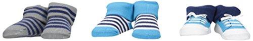 Luvable Friends 3-Pack Little Shoe Socks Gift Set, 3 Pieces, Blue - Stockings Piece Stripe 3