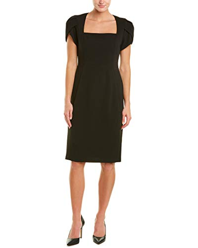 Donna Morgan Women's Tulip Sleeve Square Neck Crepe Sheath Dress, Black, 6 (Square Dresses Womens Neck)