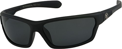 Nitrogen Men's Rectangular Sports Wrap 65mm Polarized Sunglasses (Black Matte Rubberized, Black) by Nitrogen