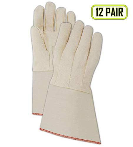 Magid MultiMaster T10DG Canvas Gloves with PE Gauntlet Cuff, Mens Fit (Jumbo), White (12 Pairs)