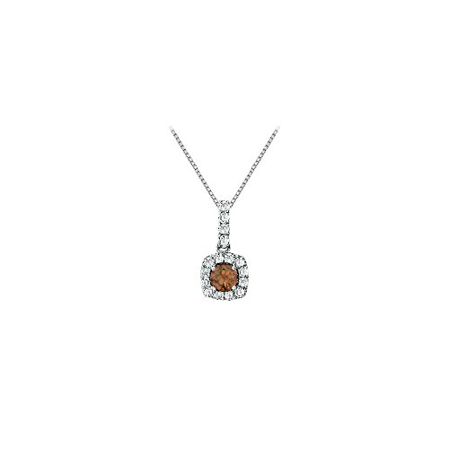 - Fancy Square Smoky Quartz and Cubic Zirconia Halo Pendant in Sterling Silver