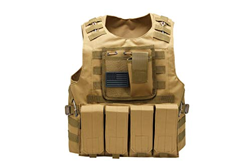 Tactical Airsoft Paintball Vest, Mil Spec 1000D Nylon PALS Molle Modular w/ 4 Mag Pouches, Side Pouch, Chest Mag Pouch+ Free US Flag Patch ... (Brown)