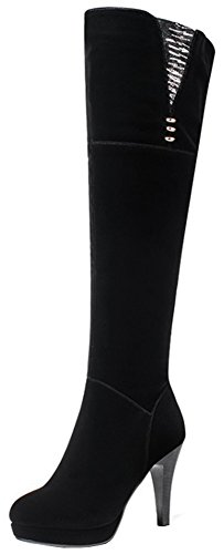 Sequined Knee High Boot (Mofri Women's Sexy Faux Suede Sequins Elastic Round Toe Pointy High Heel Platform Knee High Boots With Side Zipper (Black, 7 B(M) US))