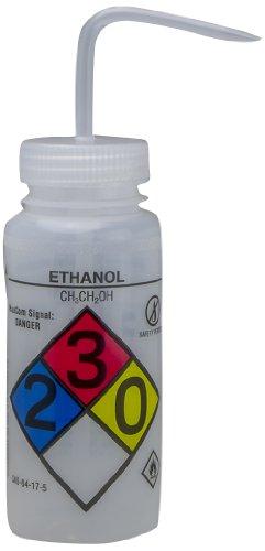 Bel-Art GHS Labeled Safety-Vented Ethanol Wash Bottles; 500ml (16oz), Polyethylene w/Natural Polypropylene Cap (Pack of 4) (F12416-0019)