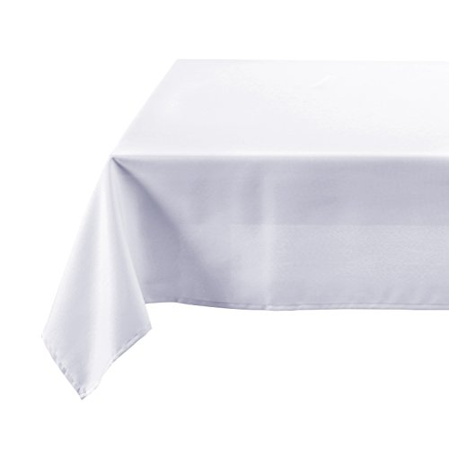 - Deconovo Faux Linen White Table Cloth Rectangular Spillproof Wrinkle Resistant Tablecloth for Wedding 54x120 Inch