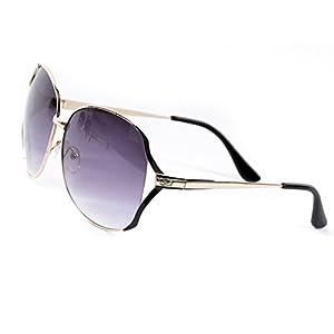 Goson Women's Gradient Gold Black Frame/Purple Lens Gradient Oversize 65 mm Sunglasses