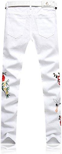 Sottile Moda Casual Tendenze white Stampa Jeans Pantaloni Mjb117 Uomo Uomini Denim Jeansian 0dAFFw