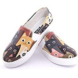 Streetfly fashion sneakers for women - slip on shoes, multicolor cat animal print (7.5 B(M) US/38 M (EU), VNS917)