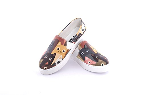 Streetfly Fashion Sneakers For Women - Slip On Shoes, Multicolor Cat Animal Print (6 B(M) US/36 M (EU), - Apparell Running