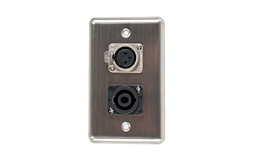 Elite Core Duplex Wall Plate w/1 Speak on and 1 XLR Female Connections (Speakon Wall Plate Single)