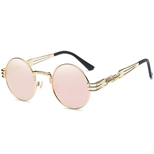 Dollger Pink Round Sunglasses Steampunk Glasses Metal Frame Mirror ()