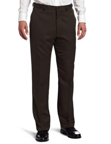 Haggar Men's Cool 18 Hidden Expandable Waist Plain Front Pant, Brown, 42x32