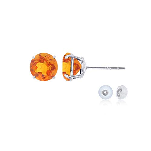 Genuine 14K Solid White Gold 6mm Round Natural Madeira Citrine November Birthstone Stud Earrings
