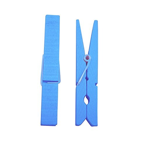 Tinksky Heavy-Duty Natural Wood Clothespins Clothes Pegs Pins (Sky Blue),30 pins 2.9 Inch