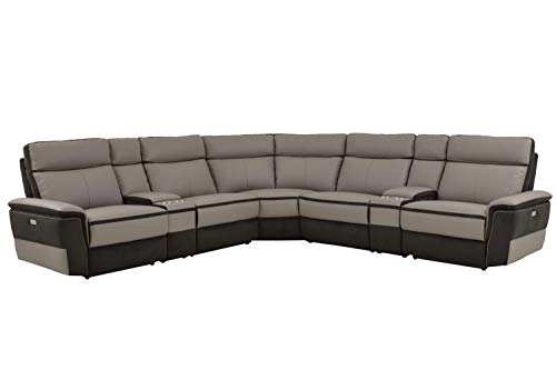 Liberman 7PC Power Sectional w Power Armless Recliner - Top Grain Leather & Fabric - Grey - ConfigB (Recliner Armless Motion)