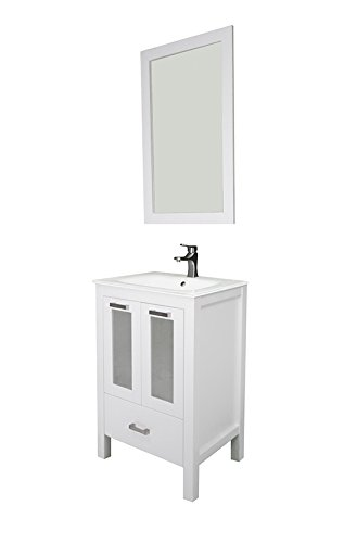 "Albani 24"", white, glass doors, glass sink by Priele"