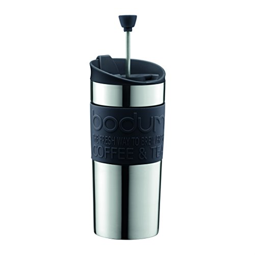 Bodum Vacuum Travel Press, Stainless Steel with Black Lid and Band, Small, 0.35 l, 12 oz (Bodum Vacuum Coffee)
