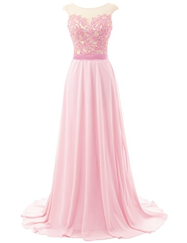 Prom Dresses Long Bridesmaid Dress Lace Evening Gowns Chiffon Open Back Evening Dresses Cap SleeveLight Pink US18W