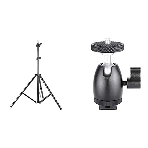 Neewer 75'/6 Feet/190CM Photography Light Stands for Relfectors, Softboxes, Lights, Umbrellas, Backgrounds &  Mini Ball Head with Lock and Hot Shoe Adapter Camera Cradle