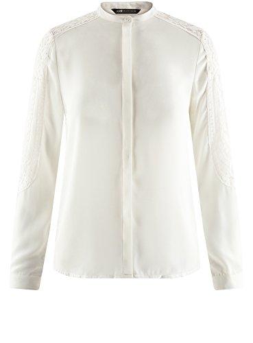 en Femme Chemisier Blanc Ample oodji Dentelle Collection 1200n wH6xHS