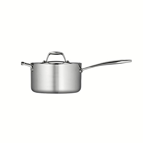 Tramontina 80116/024DS Gourmet 18/10 Stainless Steel Induction-Ready Tri-Ply Clad Covered Sauce Pan with Helper Handle, 4-Quart, Stainless
