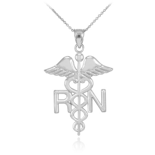 Symbol Charm Caduceus - American Heroes 925 Sterling Silver Caduceus RN Charm Registered Nurse Necklace, 18