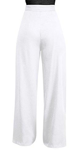 Pantaloni Pantalone Unita ulein Bende con Vita Spiaggia a Fox Lungo Larga Pants Alta Moda da Tinta Donna Fr Baggy Gamba Casual 6SqUSxn