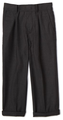 Nautica Little Boys' Charcoal Dress Pant, Charcoal, 7 (Pants Grey Pleated Dress)