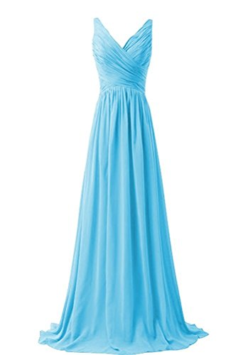 Prom Gown Neck Womens Mother Blue V AN69 Long Party Chiffon Pleated Anlin Dress Evening qIagwq