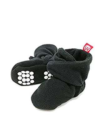 Wrapables Fleece Baby Booties with Anti-Skid Bottoms - Black - 0-6 M