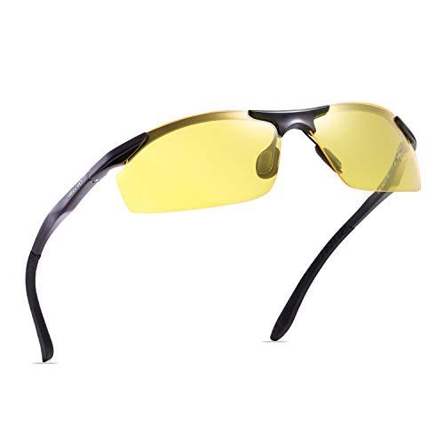 (GELLVO Night Driving Glasses HD Yellow Lenses Anti Glare Polarized Sunglasses for Men & Women (Black-1) )
