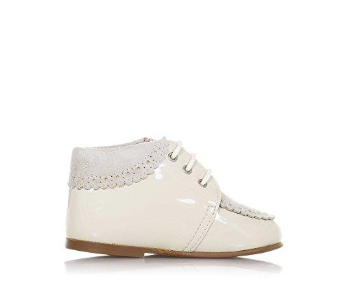 ELI Beige Schuh mit Schnürsenkeln Aus Lackleder und Wildleder, Handgemacht in Spanien, Mädchen-23