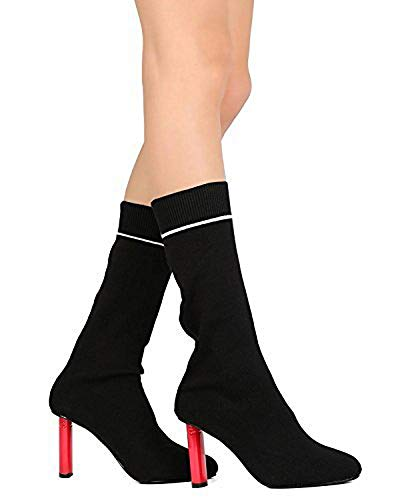 CAPE ROBBIN Women Sweater Mid-Calf Pointy Toe Oval Heel Sock Boot GB55 - Black (Size: 11) by CAPE ROBBIN
