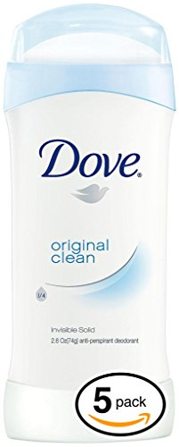 (PACK OF 5 STICKS) Dove ORIGINAL CLEAN Dry Solid Stick Antiperspirant & Deodorant. 24 HOUR ODOR PROTECTION! Non-Irritant! (5 Sticks, 2.6oz each Stick)