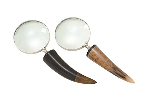 Deco 79 19096 2 Assorted Chic Brass Horn Magnify, 4