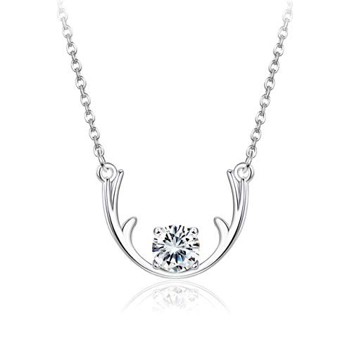 Sllaiss Sets With Swarovski Zirconia Antler Necklace for Women girls 925 Sterling Silver pendant Necklace with Created CZ Round ()