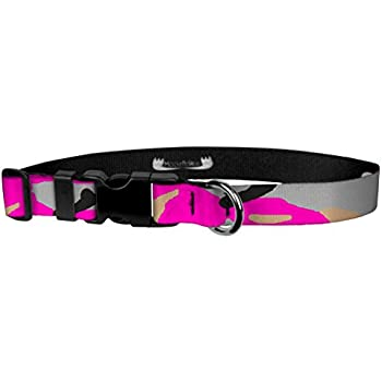 Charming Black with Pink Hot Rod Flames Dog Collar