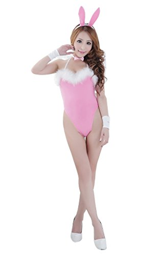 Rokou Sexy Women's Cosplay Backless Fancy Bunny Rabbit Jumpsuit Lingerie Costume (Sexy Bunny Lingerie)