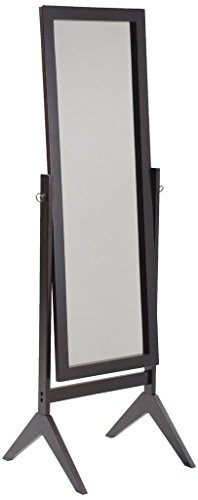 Legacy Decor Espresso Finish Wood Rectangular Cheval Floor Mirror, Free Standing Mirror